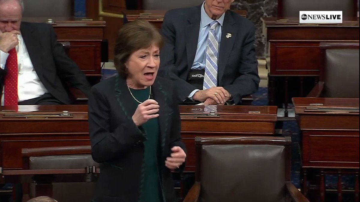 """Is that what we've come to?"" Sen. Susan Collins says, criticizing Democrats over coronavirus economic relief bill delay.  ""We don't have another day. We don't have another hour. We don't have another minute to delay acting."" http://abcn.ws/2Uz6Kr7"