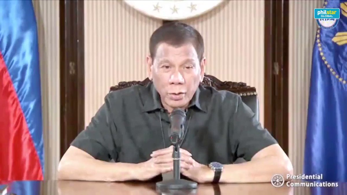 Watch this clip of Duterte's national address that aired around 11:30pm Monday evening, but was initially scheduled for 4pm.  Duterte announced P200 billion for the informal sector affected by the community quarantine.  Story here: https://www.philstar.com/headlines/2020/03/31/2004508/duterte-unveils-p200-billion-aid-low-income-families-affected-quarantine…