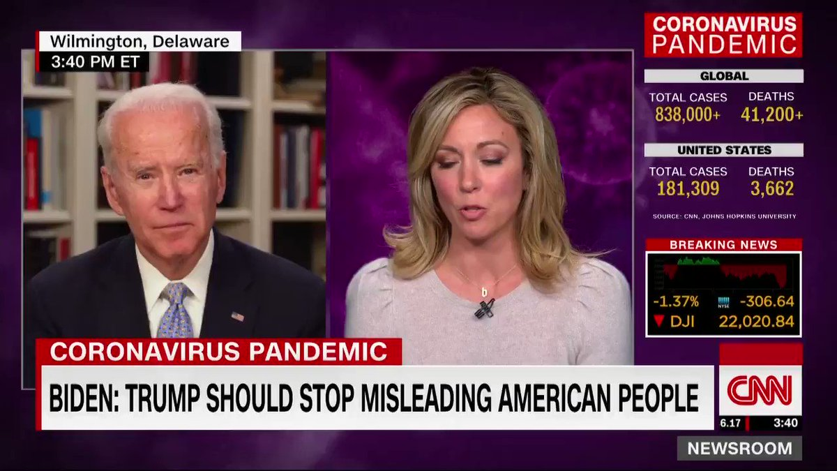 """Presidential candidate Joe Biden says President Trump is """"not responsible for the coronavirus but he is responsible for using all of the power at his disposal to be able deal with this virus.... and he's been very slow to act."""" cnn.it/33ZTsb9"""