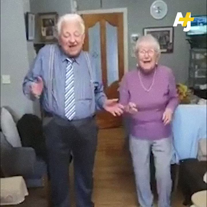 This elderly couple is staying positive and 'stayin' alive' during quarantine.
