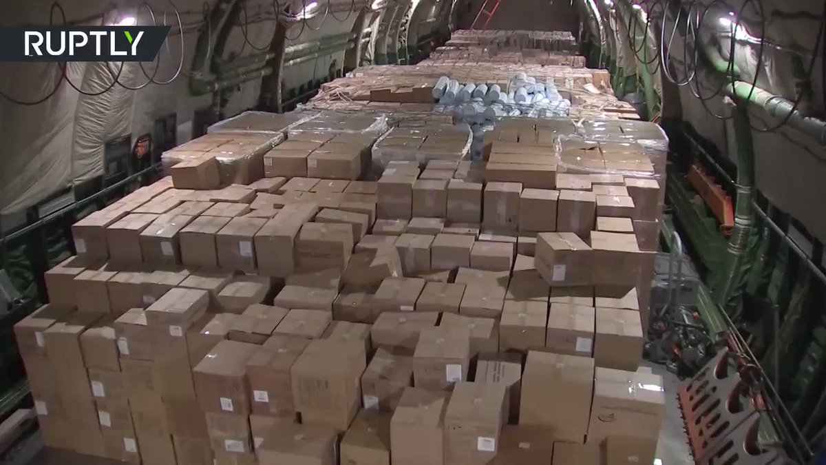 Nice planeload of help: Russia sends US much needed med supplies   https://on.rt.com/ady7