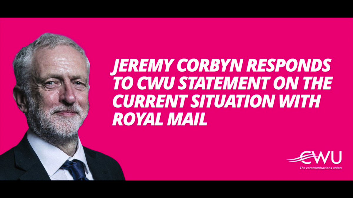 .@JeremyCorbyn has stood with CWU members before he was Labour Party leader and still does now. Here is a message of support from Jeremy for postal workers across the country: