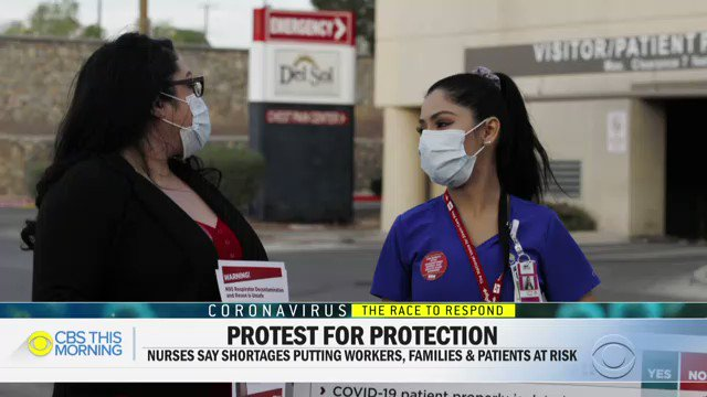 """Nurses at 15 hospitals in 7 states are protesting this week over what they call a """"lack of preparedness"""" by a major U.S. hospital chain.  Nurses on the front lines of the #coronavirus crisis spoke with @CBS_Herridge about the pressure and lack of critical supplies.pic.twitter.com/o4qWhggyrR"""