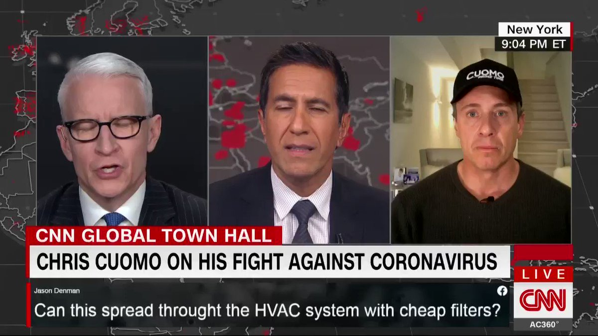 Pain in my face... headaches, profuse sweating. Literally, my vision in my left eye is a little blurry, @ChrisCuomo says of his coronavirus symptoms. And you have these wicked phantasmagorical experiences that are not dreams, he says. cnn.it/2X0fhGi #CNNTownHall