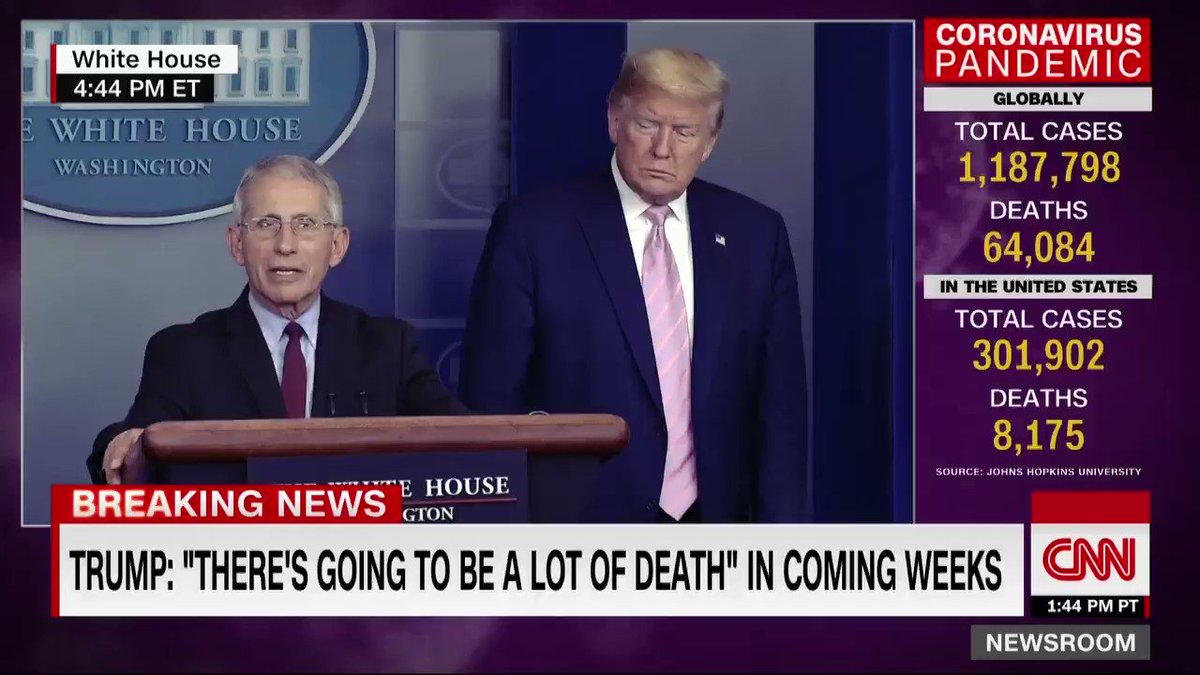 "Dr. Fauci, the nation's top infectious disease expert, encourages Americans to continue social distancing. ""As sobering and as difficult as this is, what we are doing is making a difference, so we really need to continue to do that.""  https://cnn.it/3aHWL9v"