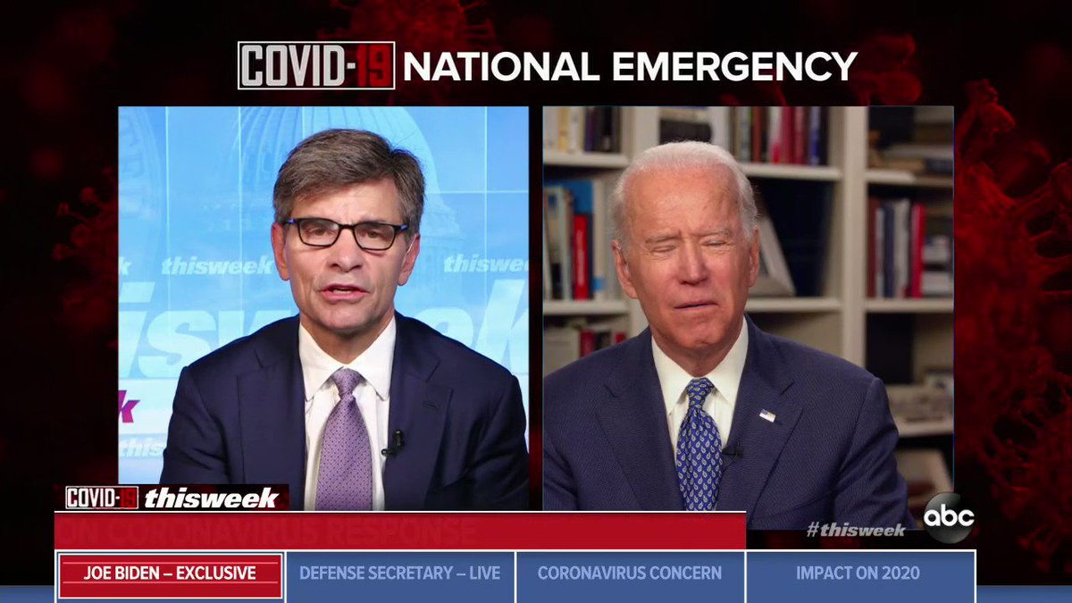 """Joe Biden tells @GStephanopoulos that holding the Democratic convention is """"necessary,"""" but Democrats """"may have to do a """"virtual"""" convention amid the COVID-19 threat.  """"We may not be able to put 10, 20, 30,000 people in one place and that's very possible."""""""