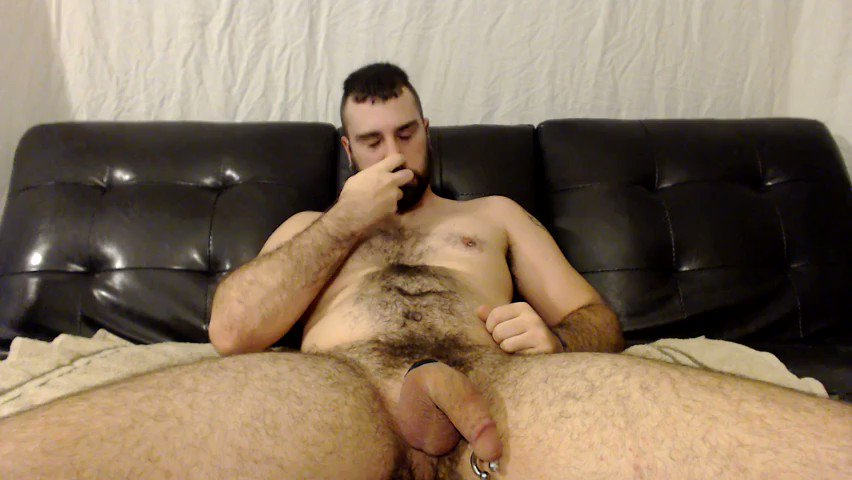 Young hairy men masturbating together