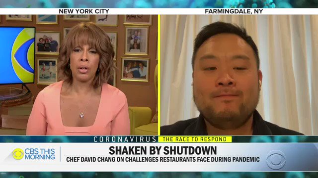 WATCH: @Momofuku founder @DavidChang shares how the #coronavirus pandemic has affected his employees and him personally.pic.twitter.com/ELqJZswMXK