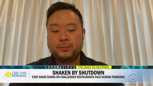 """We're gonna lose the very eclectic mix that makes dining out in America so wonderful ...This is going to affect so many other businesses, farmers, supply chains, distribution, artisans, purveyors of all kinds, this is the very fabric of America."" - @Momofuku founder @DavidChangpic.twitter.com/ZmlqIpu6M5"