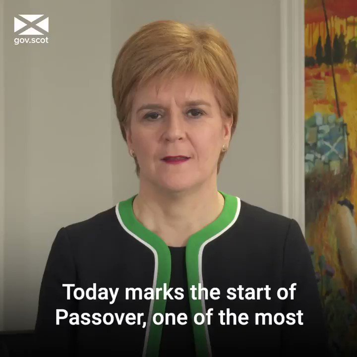 First Minister @NicolaSturgeon has wished those celebrating #Passover a happy, peaceful and safe time. Chag Sameach!