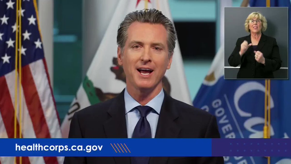 CA Gov. Gavin Newsom: United Airlines called and said if you have folks that are traveling into the state that want to be part of that health corps, we want to take care of their travel costs.
