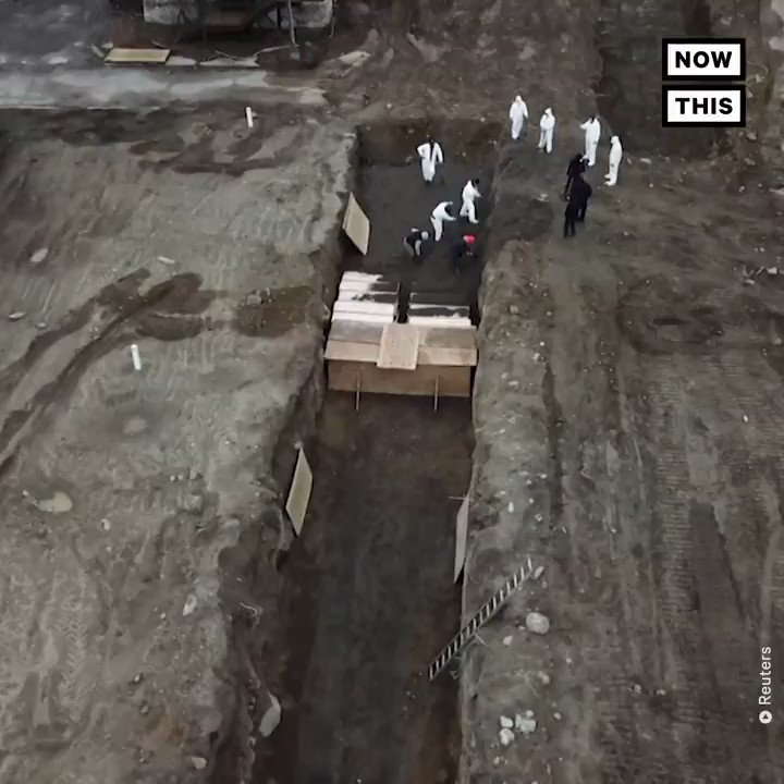 This drone footage captures NYC workers burying bodies in a mass grave on Hart Island, just off the coast of the Bronx. For over a century, the island has served as a potter's field for deceased with no known next of kin or families unable to pay for funerals.