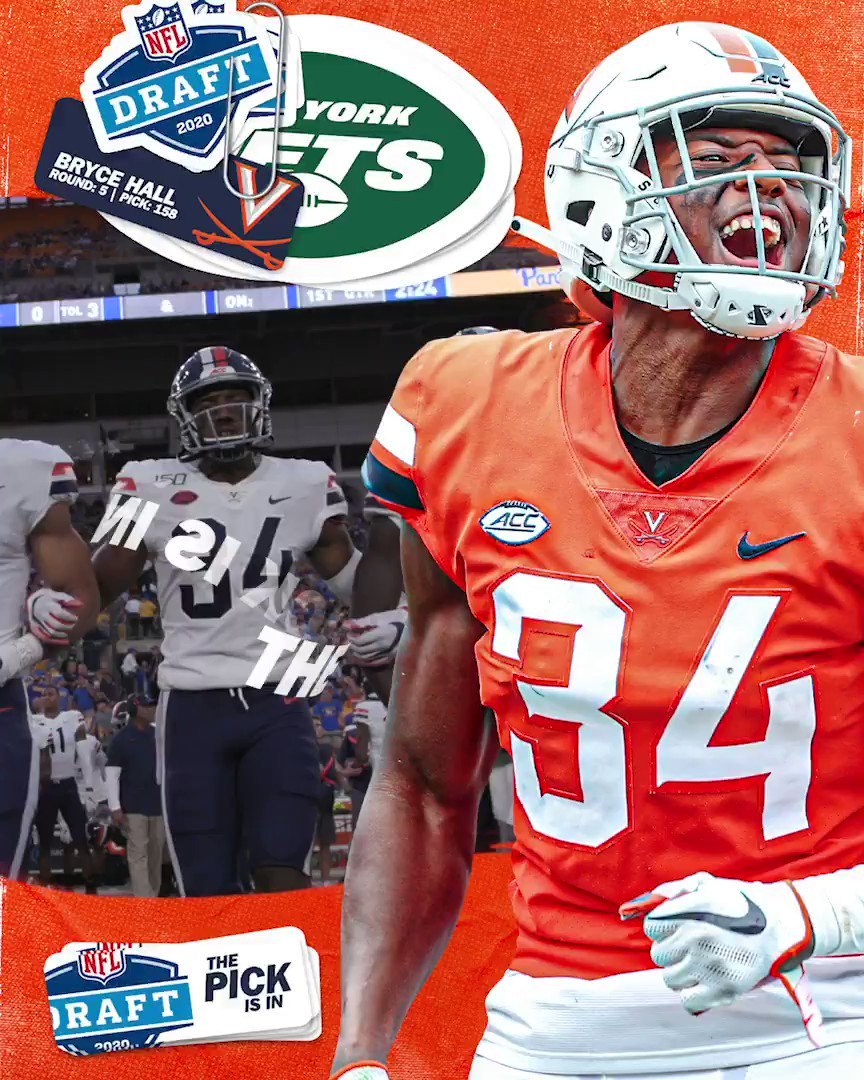 🔐⬆️ by #TakeFlight ✈️ The @nyjets have selected @BryceHall11 in the 5⃣th round, 158th pick overall, of the 2020 #NFLDraft. Congrats Bryce 👏 #GoHoos | #TheStandard