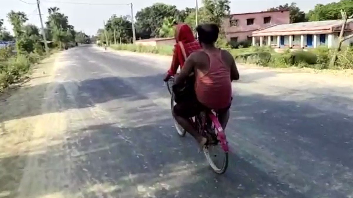 The pandemic lockdown has roiled migrant communities around the world. In #India, Jyoti Kumari, a 15-year-old Dalit girl, cycled her injured father 1,200 km back to their Bihari village from outside Delhi, where he was facing eviction. https://t.co/WTJgQXiNhP