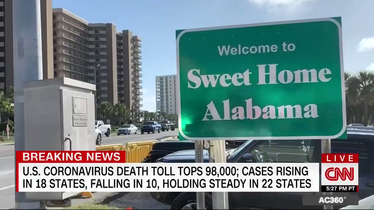 The coronavirus infection numbers are going the wrong way in Alabama — they are trending up, but the state is wide open for business.  @GaryTuchmanCNN explores the burgeoning social scene in Gulf Shores. https://t.co/yKZFVrlCz8 https://t.co/d8Jdb5Osqc