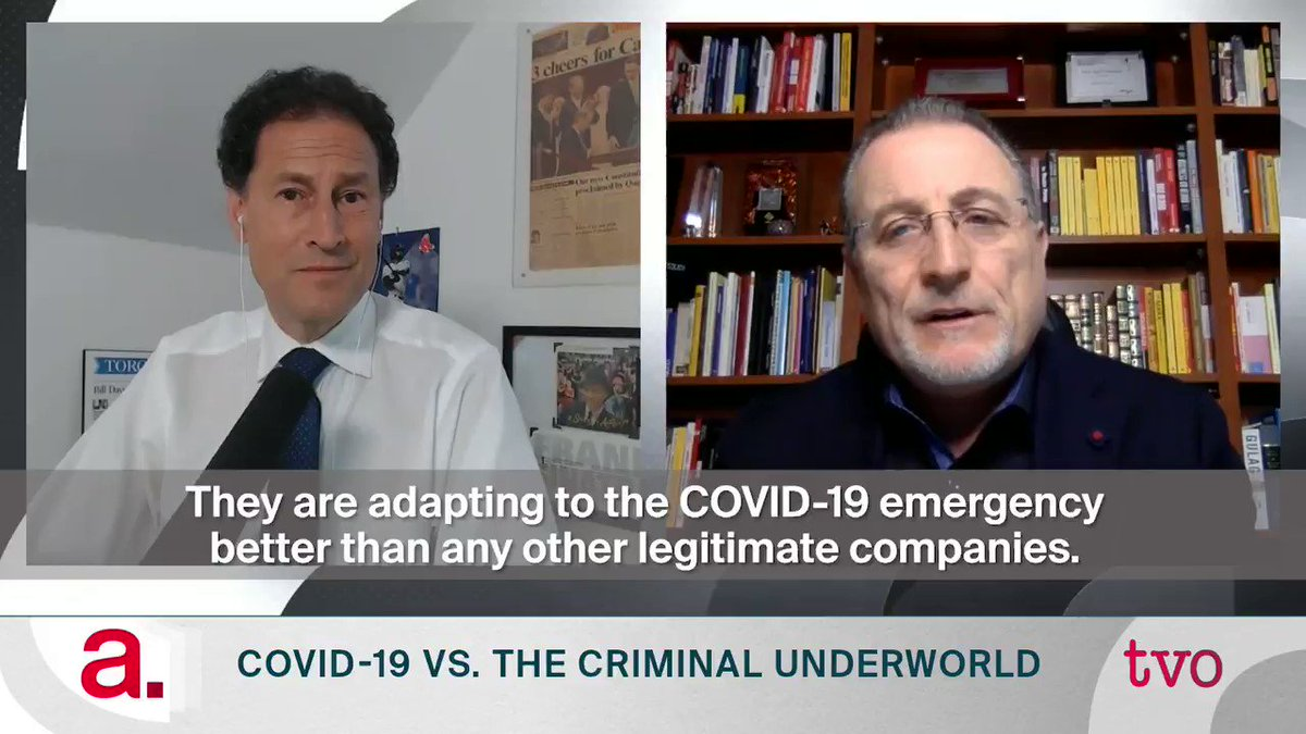 """""""They are adapting to the COVID-19 emergency better than any other legitimate companies."""" — organized crime expert @AntonioNicaso (@queensu) on how international crime networks are finding opportunity during the pandemic. Tonight at 8/11pm with @spaikin   Producer: @PreetiBhuyan https://t.co/FxxVdA9JIq"""