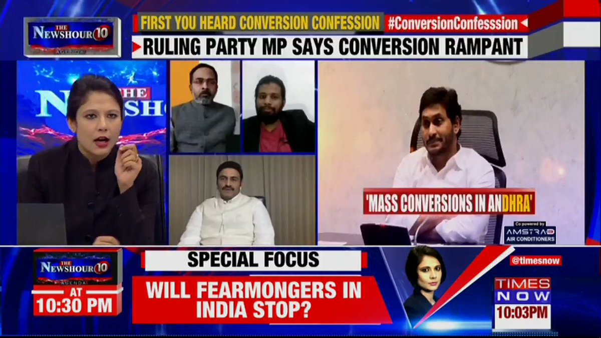 The actual percentage of Christian record in our state is less than 2.5% but in reality it would be not less than 25%: Raghu Ramakrishna Raju, MP, YSRCP tells Padmaja Joshi on @thenewshour AGENDA. | #ConversionConfession https://t.co/6ppT3HTXeh