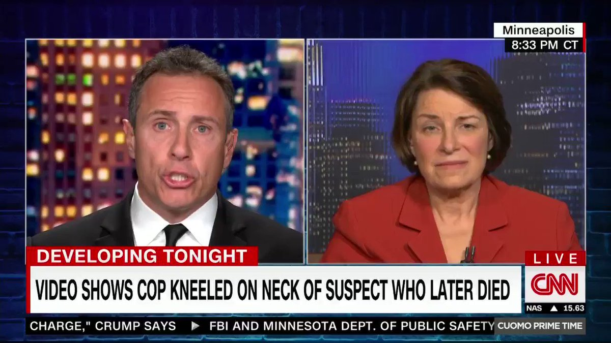 """He was pleading for his life."" Sen. Amy Klobuchar says the firing of four Minneapolis police officers for their involvement in the death of George Floyd, a black man who was held down with a knee as he said that he couldn't breathe, was a ""first step."" cnn.it/36y8vu1"