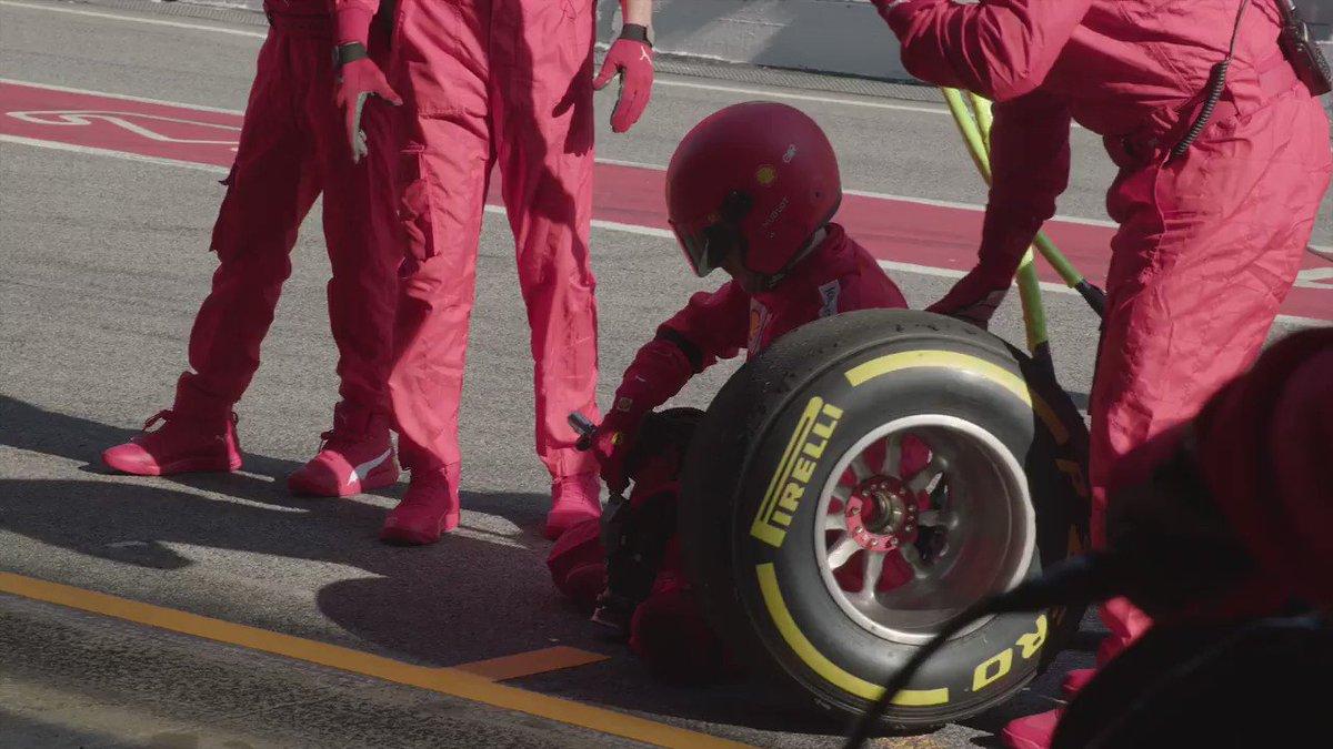 Teamwork gets us back in the race.  Together we'll hit the track again.  @pirellisport #essereFerrari #DistantiMaUniti https://t.co/V7hP1dBz9J
