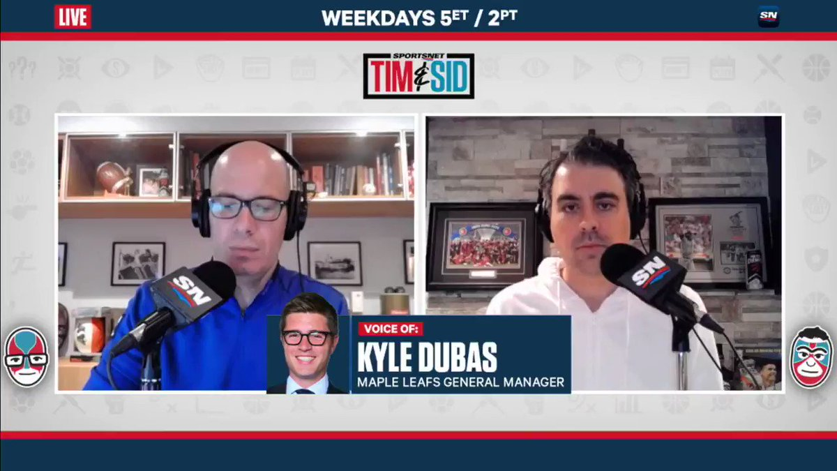 """""""We just think he's a player that continues to greatly improve."""" @MapleLeafs GM @KyleDubas joined @TimandSid to talk about adding Nick Robertson to their expanded playoff roster."""