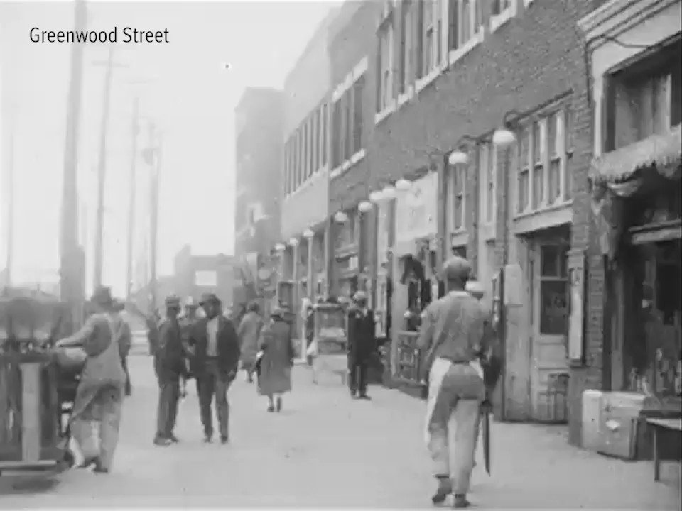 "This is rare 1920s footage of Greenwood, an African-American enclave in Tulsa, Oklahoma. Greenwood's abundance of Black-owned businesses and its prosperity earned it the nickname ""Black Wall Street."" But 99 years ago, angry white mobs burned it to the ground. #TulsaRaceMassacre"