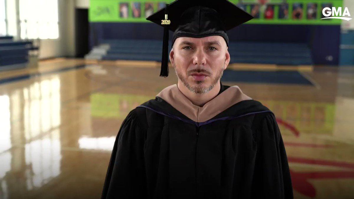 .@pitbull delivers a commencement speech to the class of 2020 at Slam - his charter school for sports and leadership management! gma.abc/2Bd0XRZ