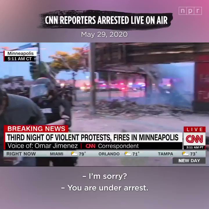"""""""A black reporter from CNN was arrested while legally covering the protests in Minneapolis,"""" the network noted, referring to Omar Jimenez. """"A white reporter also on the ground was not."""""""