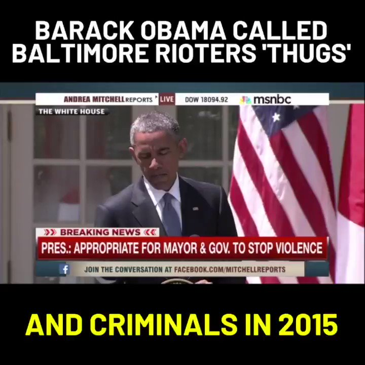 The media is attacking @realdonaldtrump for calling the rioters 'Thugs'.   In 2015, Obama called the Baltimore Rioters Thugs.   This is just another example of the media bias.   Let's make this viral.