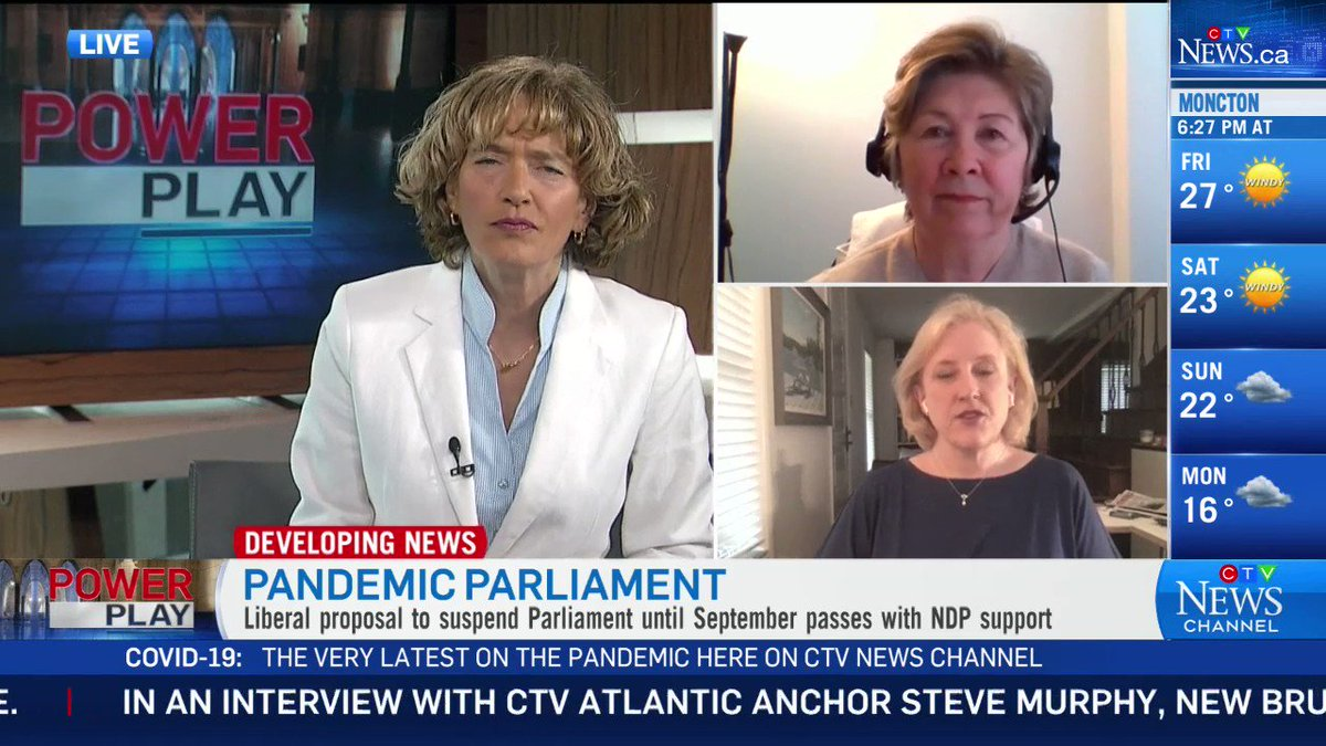 """There will be no full Parliamentary sitting until at least September. Will this limit government oversight amid the pandemic?  """"I'm concerned for Canadians,"""" says CTV News Political Analyst Lisa Raitt.    More at http://CTVNews.ca  #cdnpoli #covid19canada pic.twitter.com/zEYGe8JVhZ"""