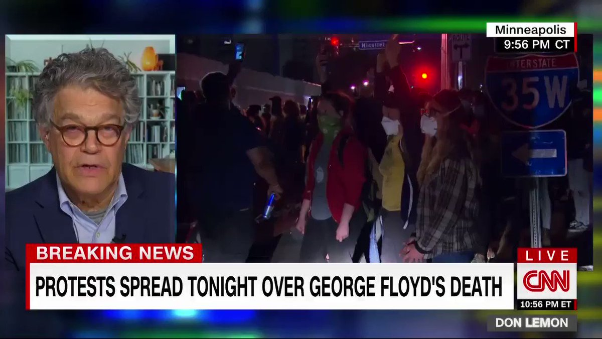 """The anger that you're seeing, the frustration that you're seeing is completely understandable,"" says former Sen. Al Franken, reacting to protests erupting across the US over the death of George Floyd. ""This is not Minneapolis. This is a national problem."" cnn.it/2XHxbfI"