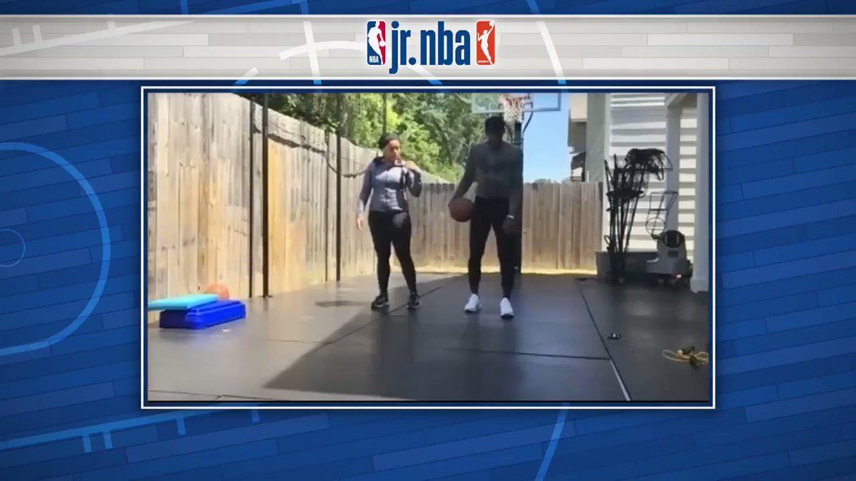 Can you keep up with Langston Galloway's workout⁉️  @Pistons guard @LangGalloway10 and his wife Sabrina led this great #JrNBAatHome Workout 💪 Check out more workouts on @JrNBA YouTube & IGTV 📺 https://t.co/obiW7AjKDd