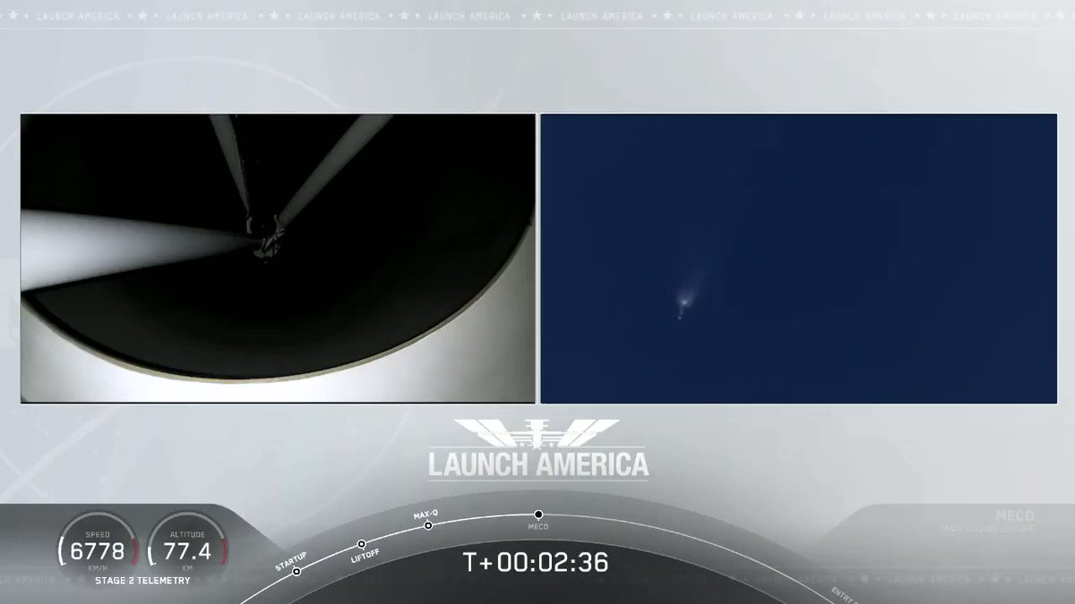 Main engine cutoff and stage separation confirmed. Second stage engine burn underway spacex.com/launches