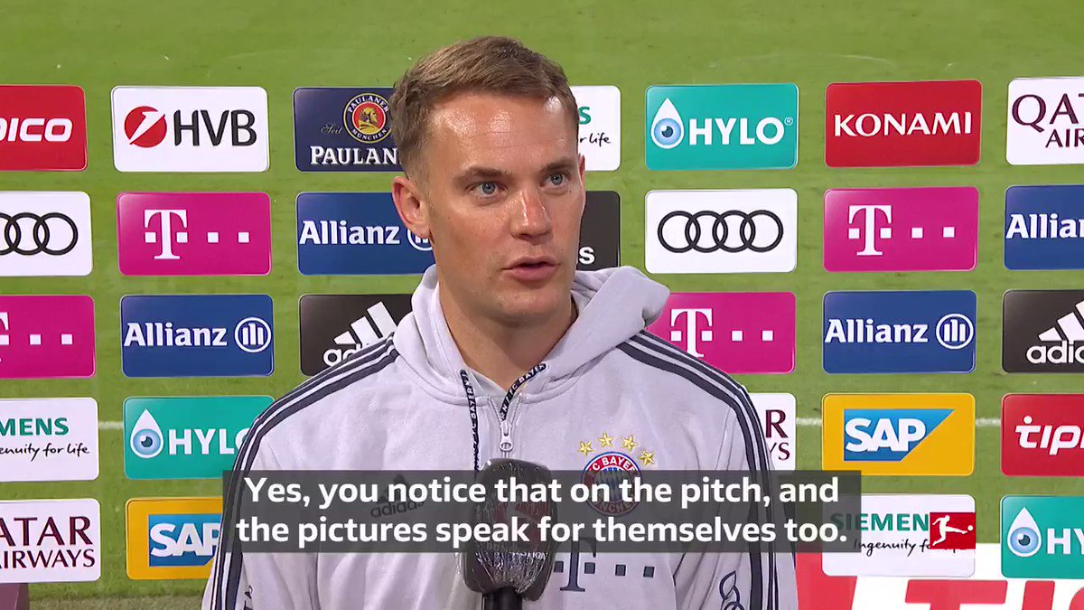 Happy days for @Manuel_Neuer and @FCBayernEN 🍺👍   #FCBF95 5-0 https://t.co/pA8fwjzkdp