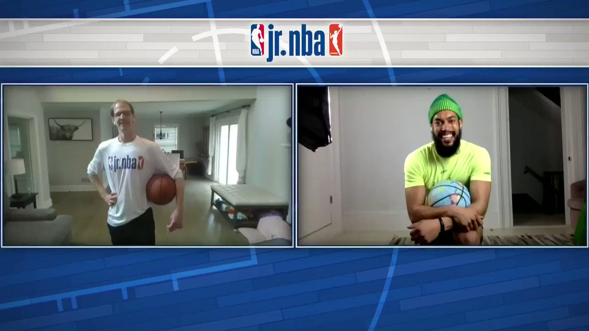 We had @Overtime Larry on this week's #JrNBAatHome Workout & it did not disappoint‼️  Check out the full workout on @JrNBA YouTube and IGTV 📺 Let us know how you do in the comments below ⬇️ #NBATogether https://t.co/dRqaAauwY8