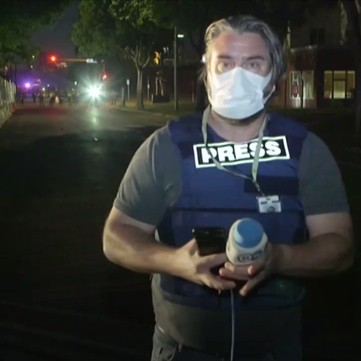 """Minneapolis: Police deliberately shoot foreign press crew from @DW with rubber bullets. """"We're press! We're media! Stop shooting at us, we're in the middle of a live shot!"""" This journalist has covered war zones for years and he is shocked."""