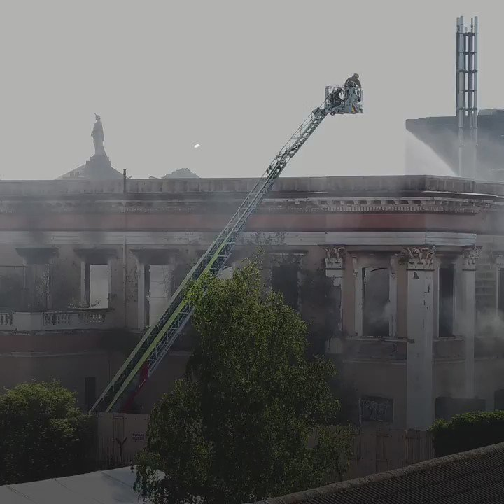 Drone footage shows the dramatic aftermath of the latest fire at the old Crumlin Road courthouse in north Belfast. Read the story here: bbc.in/2ZV2gPA