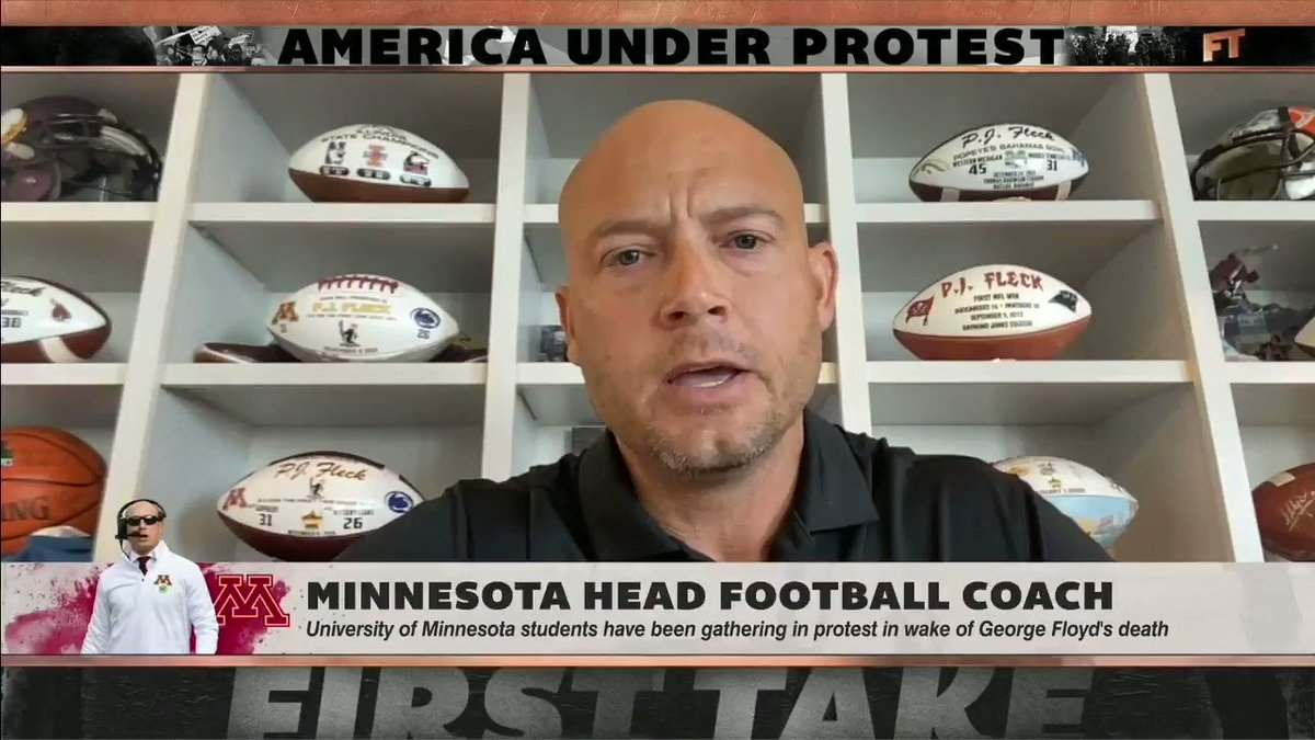 """This is the generation that CAN change this.""  Powerful words from University of Minnesota head coach P.J. Fleck, who believes ""the world can learn a lot from college football teams."" https://t.co/dhtvPQznl8"