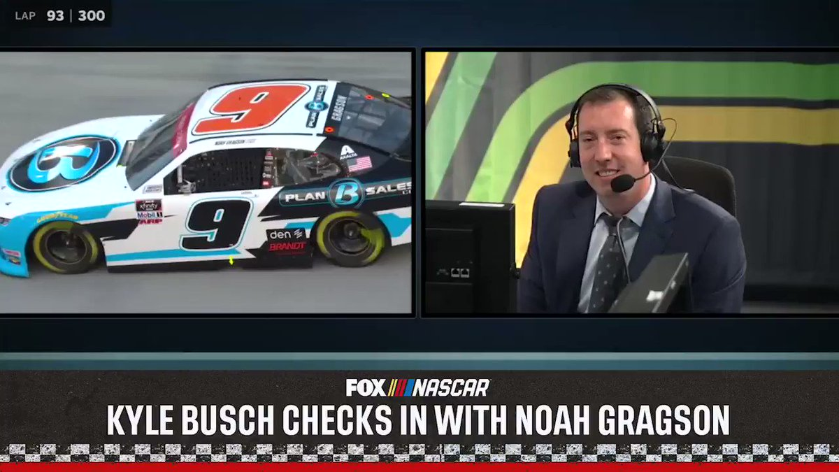 NASCAR Xfinity driver @NoahGragson is surprised by @KyleBusch (his old boss) on the radio in Bristol.