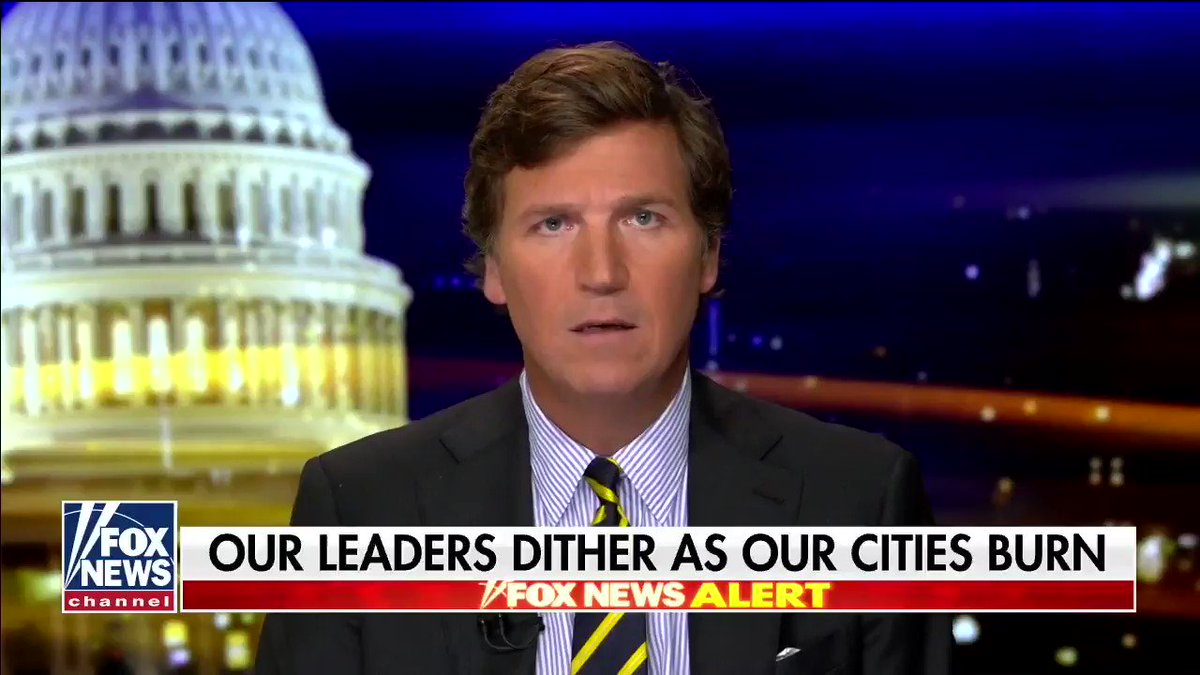 Good Monologue from Tucker....Now time to condemn the covert operations that are burning down businesses and buildings or the people who financing them? This is not Americans - this is paid professionals.
