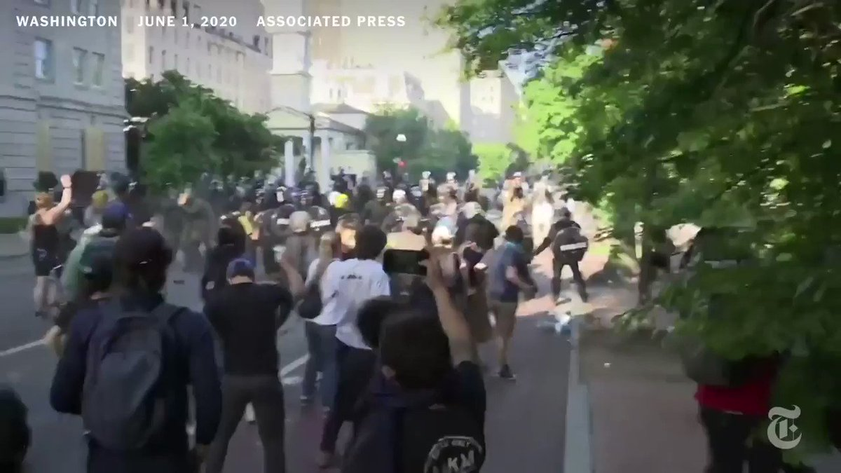 This was the scene outside of the White House on Monday as police used tear gas and flash grenades to clear out peaceful protesters so President Trump could visit the nearby St. John's Church, where there was a parish house basement fire Sunday night