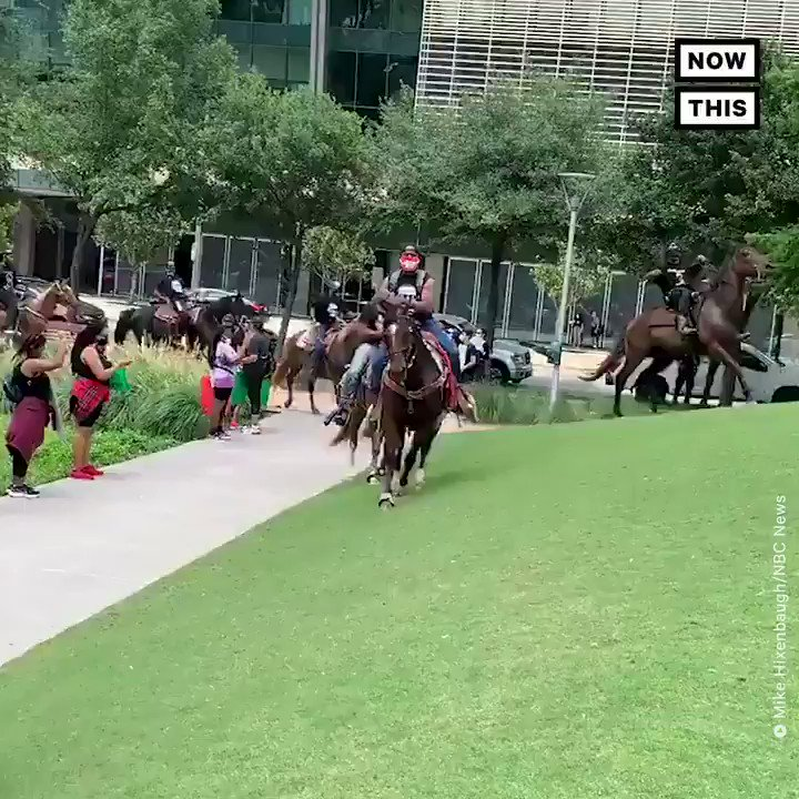 Members of the 'Nonstop Riders,' an urban trail riding club in Texas, arrived at a recent Houston protest on horseback to applause from the crowd