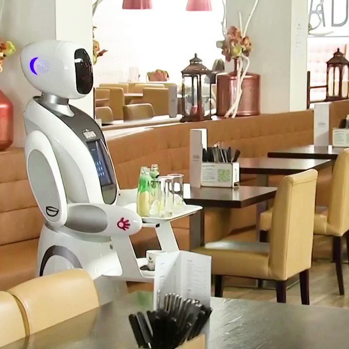 The Dadawan restaurant in the Dutch city of Maastricht is using robots to serve to customers as the Netherlands eased social restrictions #RobotsAtWork https://t.co/x57s2Jpdhk https://t.co/q3tSpoKVvy