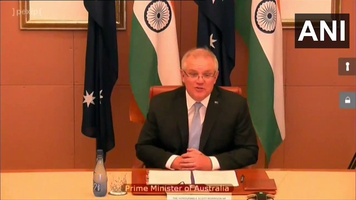 "#WATCH: Australian PM Scott Morrison says, ""I wish I could be there for what has become the famous 'Modi hug' & share my samosas. Next time, it will have to be the Gujarati Khichdi. I will try that in the kitchen before next time we meet in person."" pic.twitter.com/d6Ikxhd7nc"