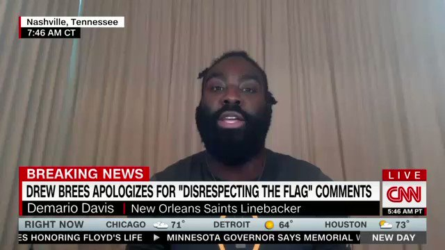 """JUST NOW: """"For him to admit that he was wrong.. I think that is leadership at its finest.""""  New Orleans @Saints linebacker @demario__davis reacts to hearing @dreabrees' apology in real time."""