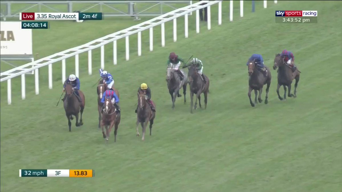 History maker ⭐️  Stradivarius wins his third #RoyalAscot Gold Cup by some distance with @FrankieDettori on board   📺 Watch all of the action now on Sky Sports Racing   https://t.co/jnKVqONl3q