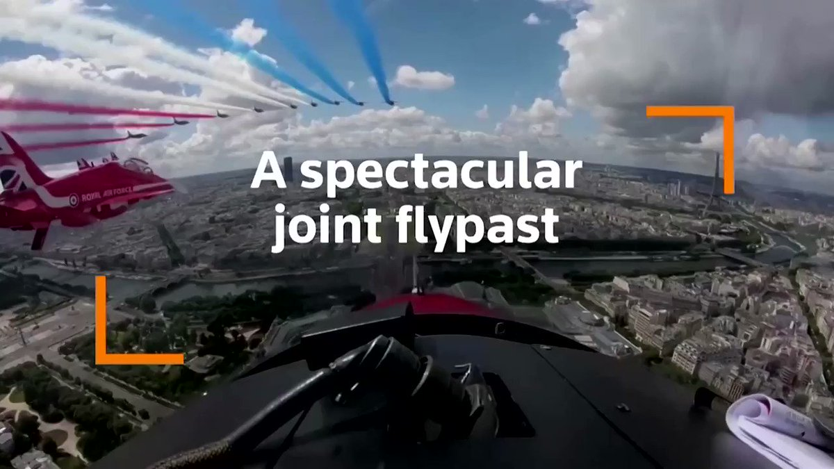 The Red Arrows and La Patrouille de France soared above Paris and London to mark the 80th anniversary of General Charles de Gaulle's call for resistance during World War Two https://t.co/vec1RczdSf