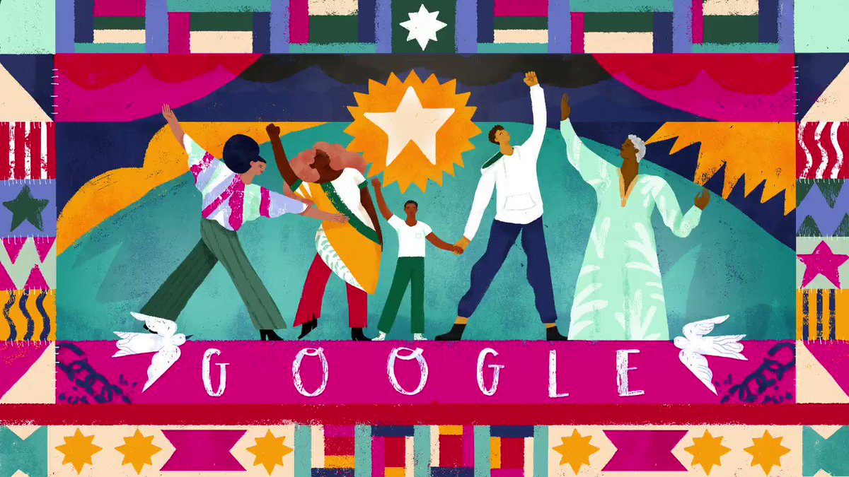 """""""We consider 'Lift Every Voice & Sing' the Black national anthem. It's a song that, when we gather, it's a part of the gathering."""" — @levarburton, narrator of today's @GoogleDoodles video   Learn more about #Juneteenth →"""
