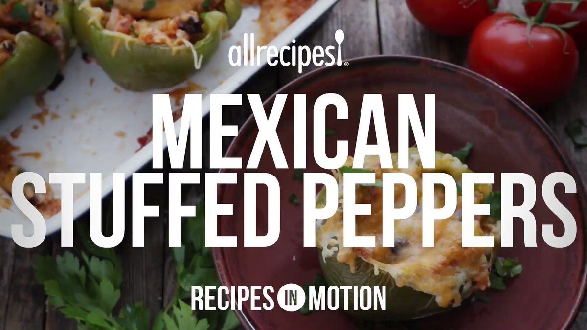 Image for the Tweet beginning: Vegetarian Mexican Inspired Stuffed Peppers