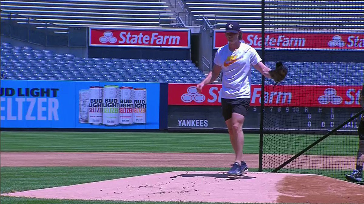 Gerrit Cole on the mound at Yankee Stadium.