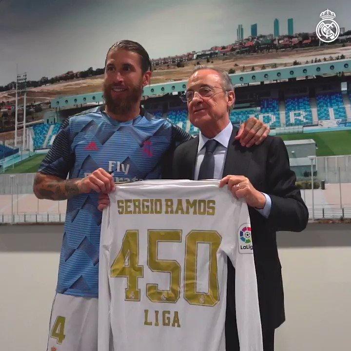 ©️🔝⚽ @SergioRamos - 4️⃣5️⃣0️⃣ @LaLiga matches with @realmadrid! #RMLiga | #HalaMadrid https://t.co/huKtKHxELC